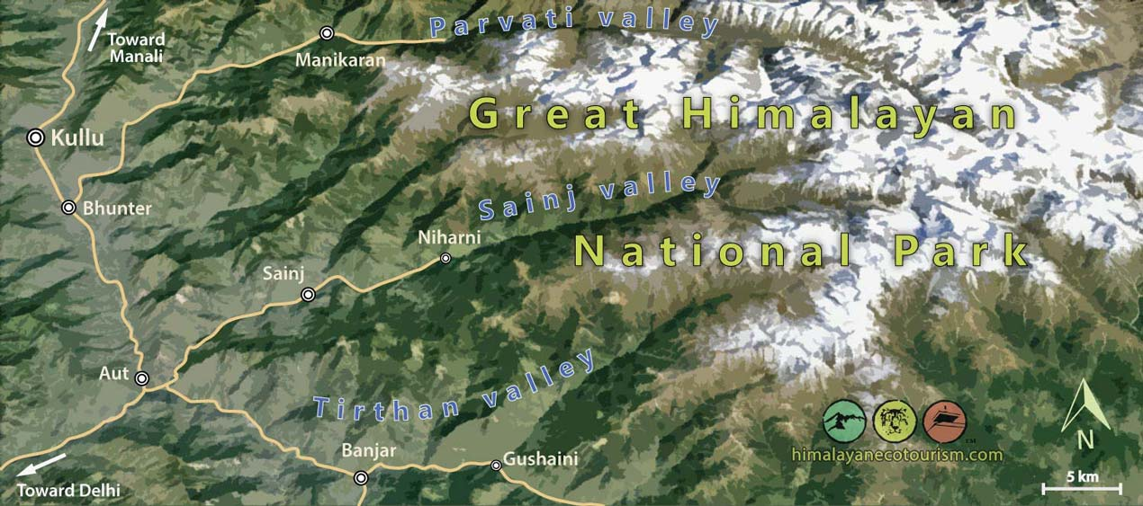 great himalayan national park conservation area map