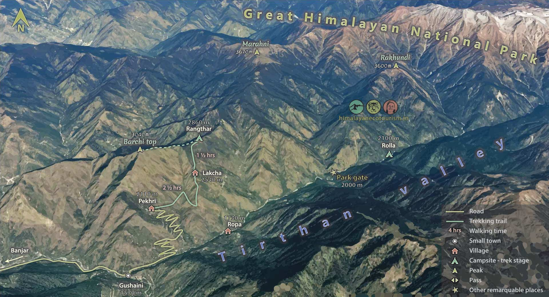Rangthar trek map in the Great Himalayan National Park GHNP