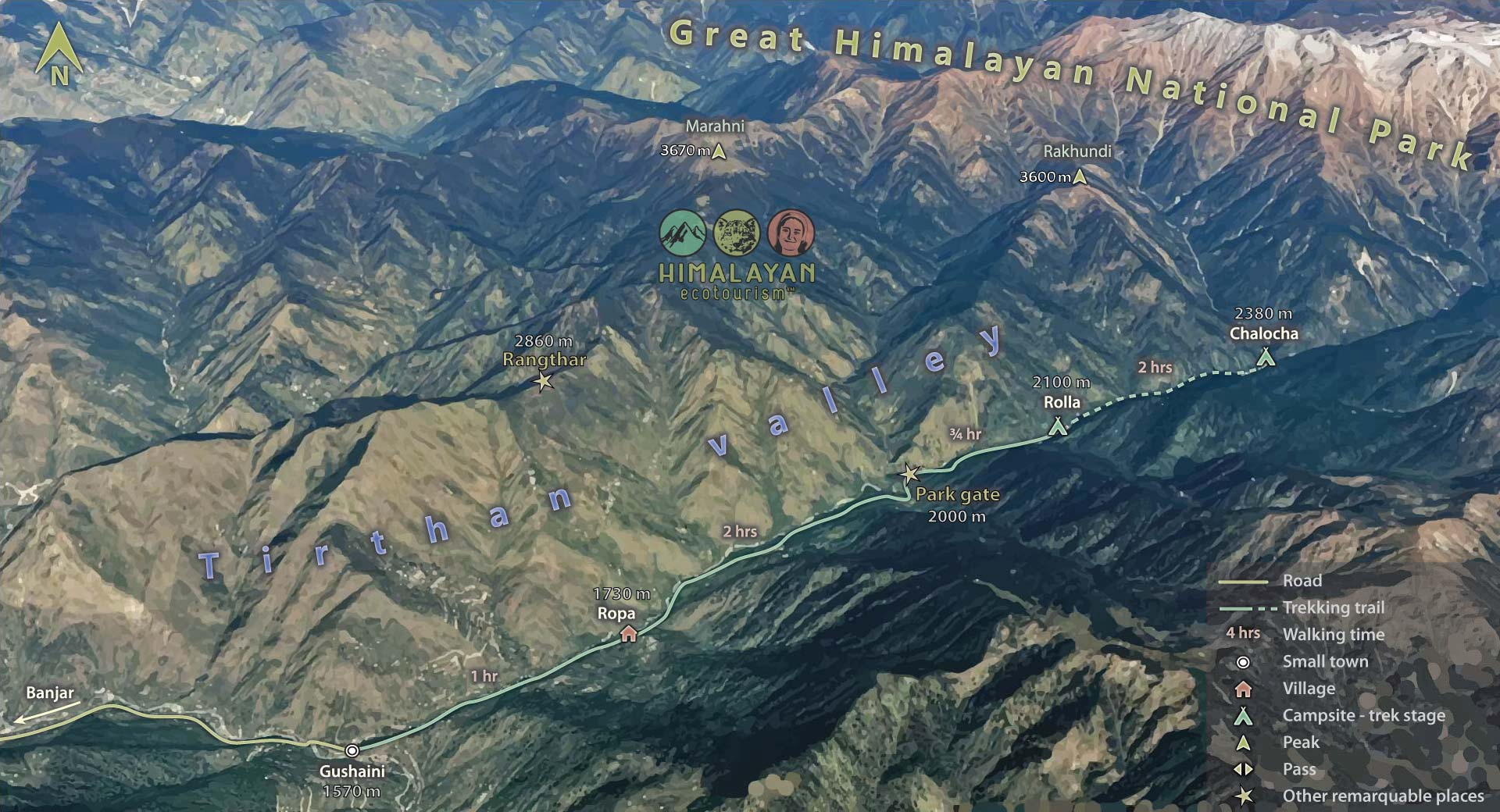 Rolla trek map in the Great Himalayan National Park GHNP
