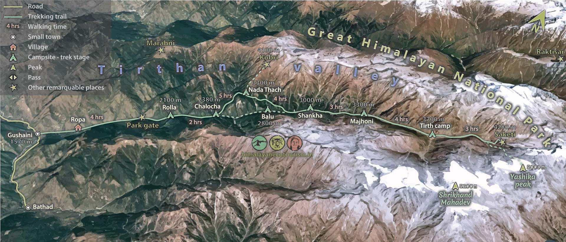 Map of the Tirth trek in Great Himalayan National Park GHNP