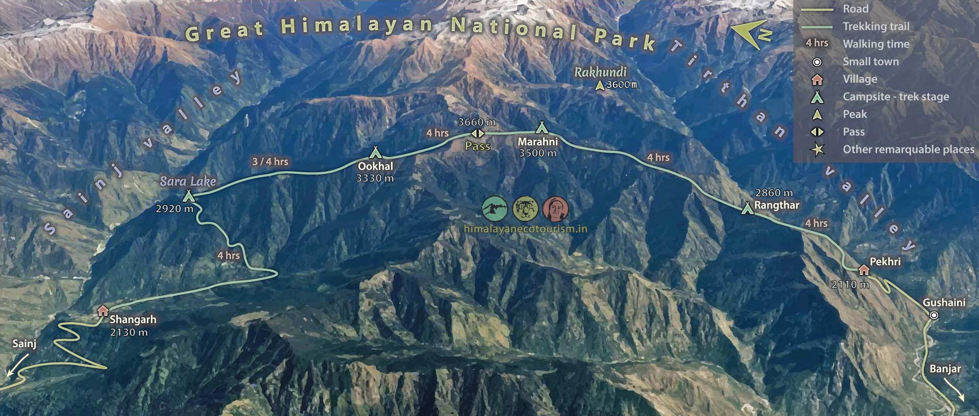 Ookhal trek map in the Great Himalayan National Park GHNP