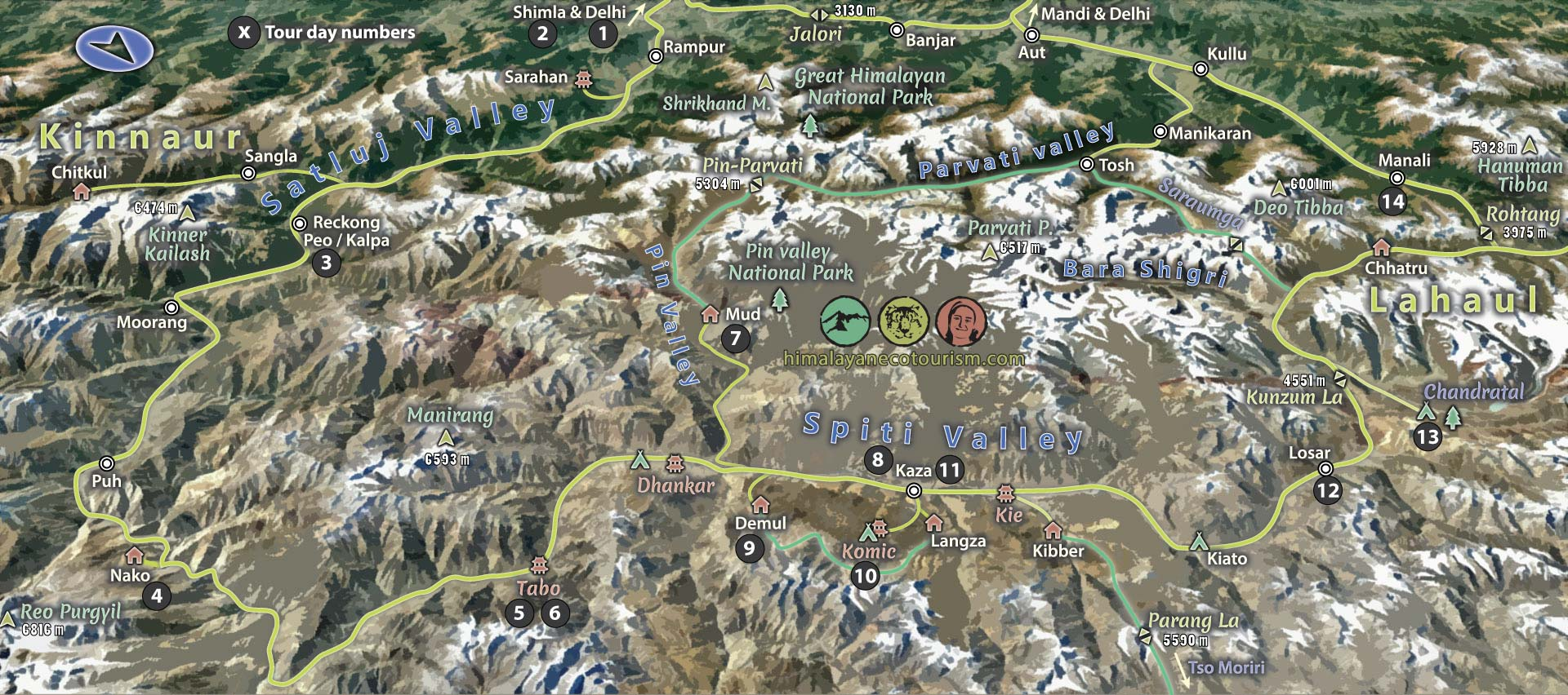 Spiti valley tour map