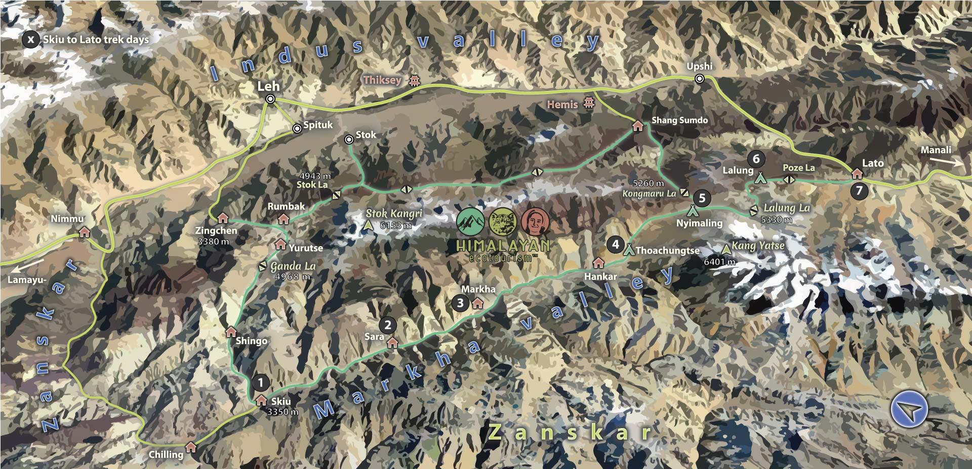 map of the Markha valley treks