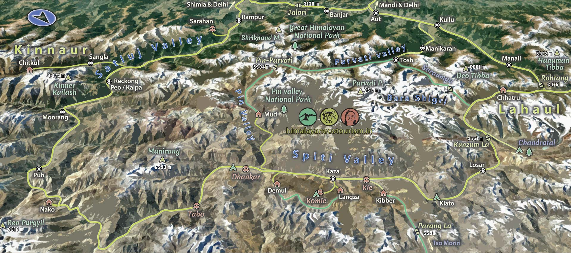 Spiti valley map