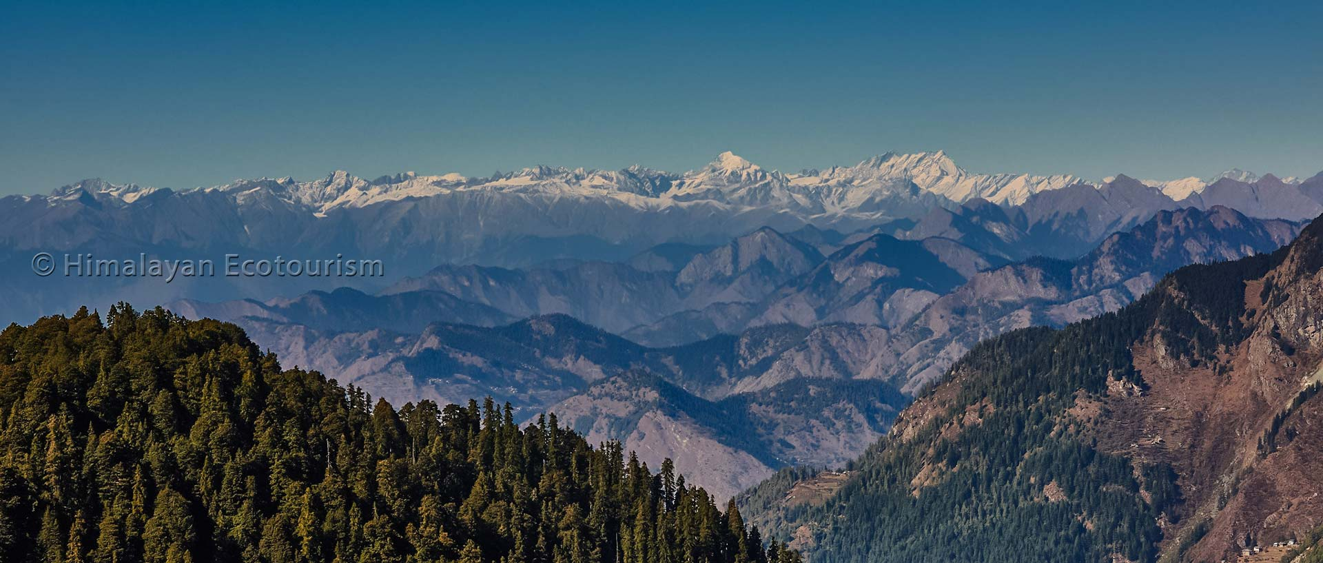 Pir Panjal range seen from Lambri, Great Himalayan National Park GHNP