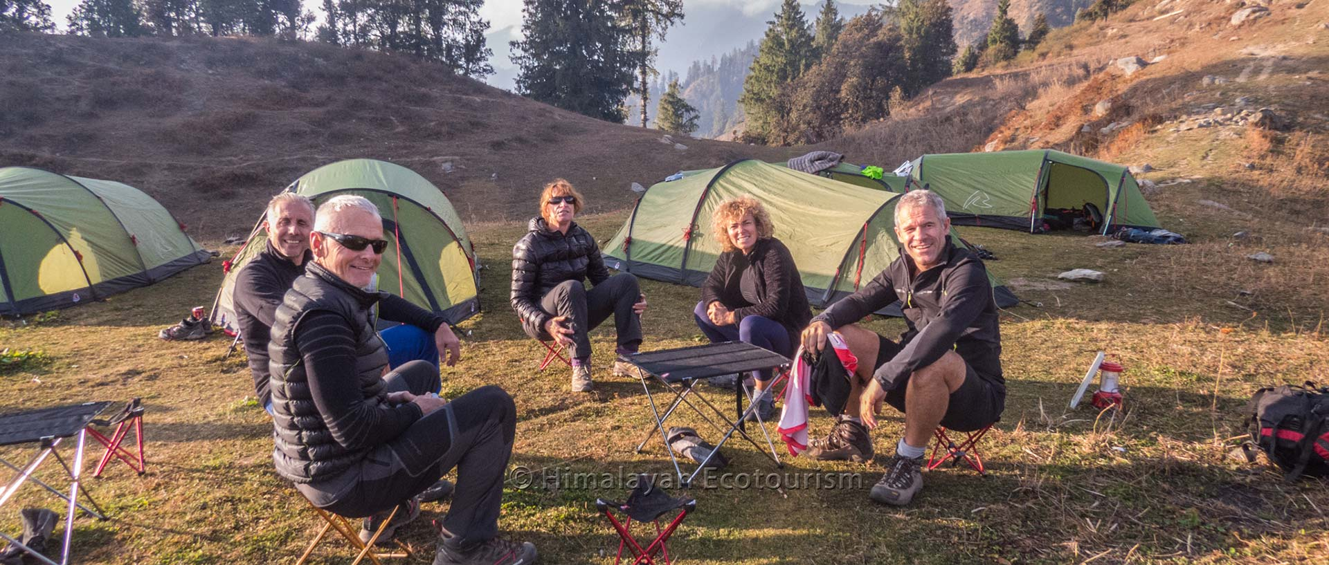 Trekkers camping at Great Himalayan National Park GHNP