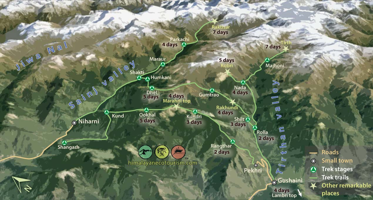 Great Himalayan National Park trek map