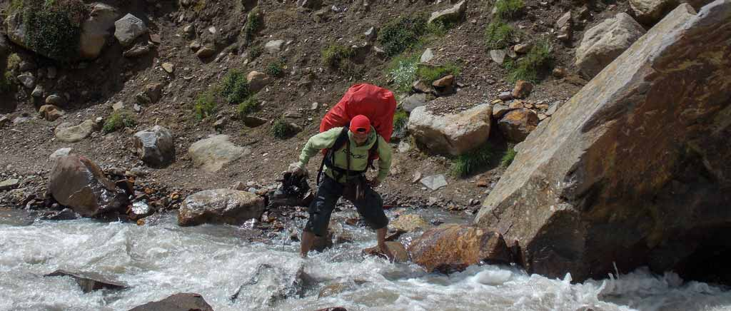 River crossing during the trek