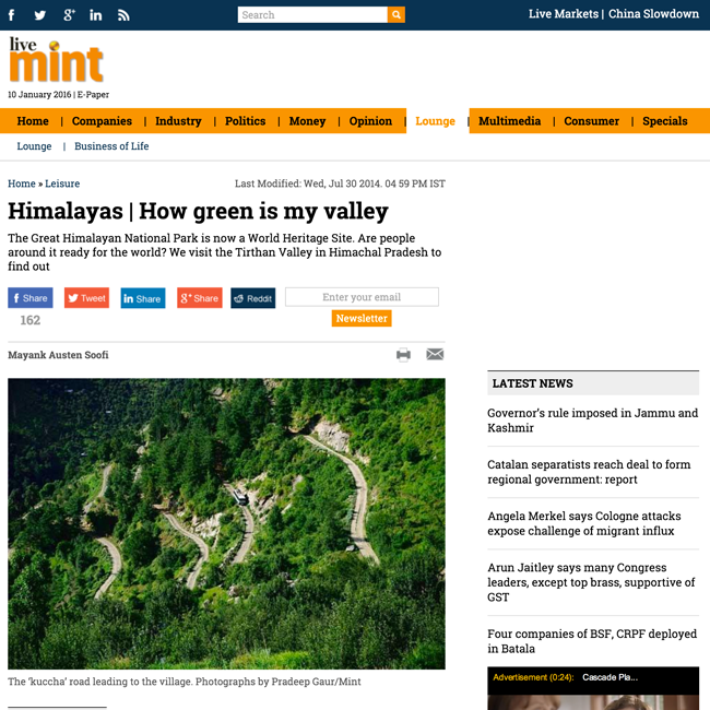 great himalayan national park press coverage